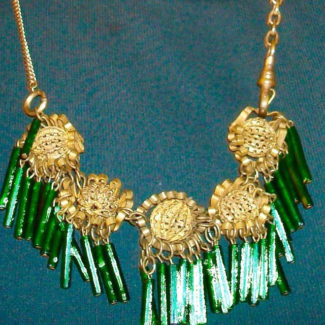 Emerald Glass Necklace, 1920s, with Victorian Watch Chains